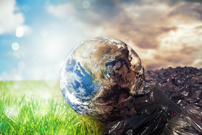 Earth is chancing due to pollution and undifferentiated trash. Save the World now. World provided by NASA